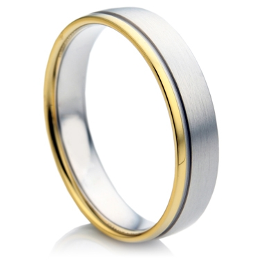 Double Comfort Two Colour White and Yellow Gold Ring