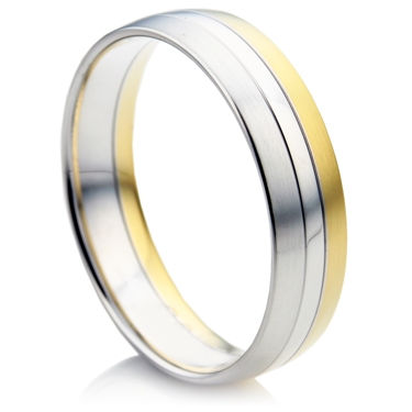 Court Shape Two Colour Gents Wedding Ring