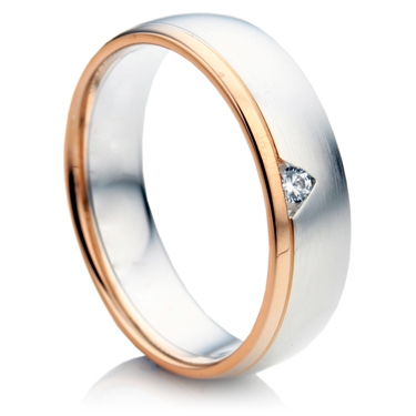 Court Shape Rose and White Gold Diamond Wedding Ring