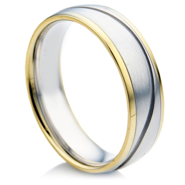 Court Shape Bi-Colour Gents Wedding Ring