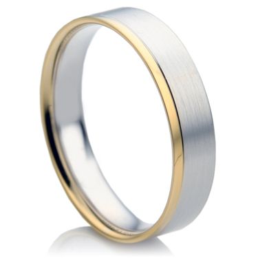 Flat Court Two Colour Men's Wedding Ring