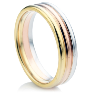 Tri-Colour Rose, White and Yellow Gold Ring