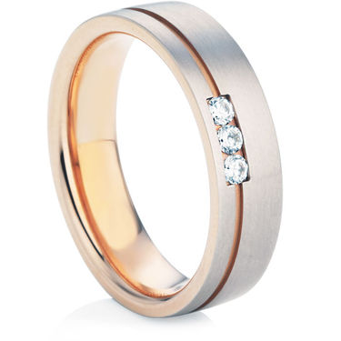 Rose and White Gold Diamond Wedding Ring