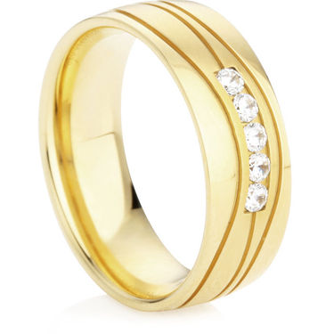 Diamond Set Wedding Ring in Yellow Gold