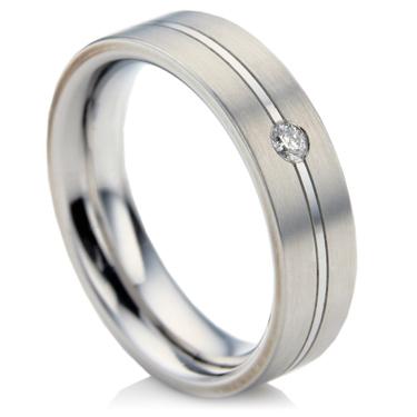 Steel Diamond Wedding Ring