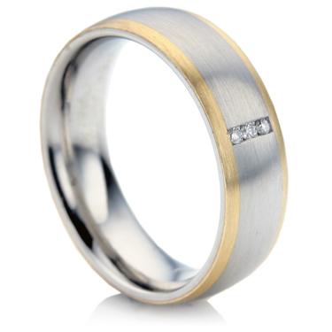 Steel and Gold Diamond Wedding Ring