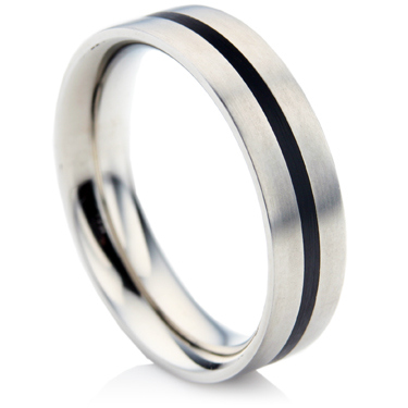 Steel and Ceramic Wedding Ring