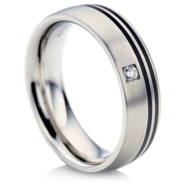 Steel and Ceramic Diamond Wedding Ring