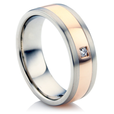 Steel and Rose Gold Diamond Wedding Ring