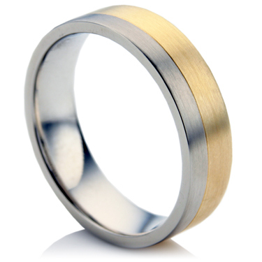 Steel and Gold Wedding Ring