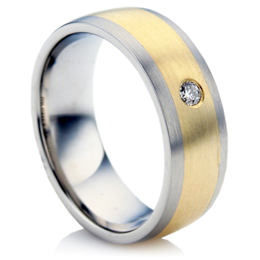 Steel and Gold Diamond Wedding Ring