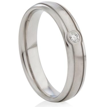 Diamond Set Steel Decorative Ring