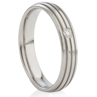 Diamond Set Steel Ring