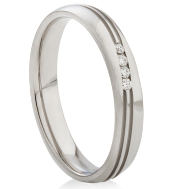 Diamond Set Steel Ring with Decorative Finish