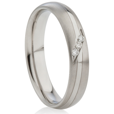 Two Tone Diamond Set Decorative Steel Ring
