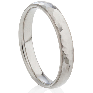 Hammered Steel Ring with Stepped Edges