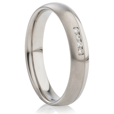 Diamond Set Court Profiled Two Tone Steel Ring