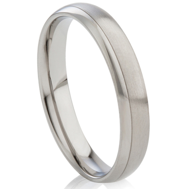 Court Profiled Two Toned Steel Ring