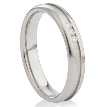 Diamond Set Steel Ring with a Central Channel