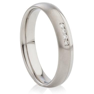 Decorative Two Tone Diamond Set Steel Ring