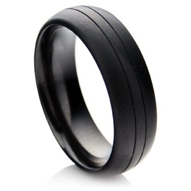 Matt Finished Black Zirconium Ring with Lines