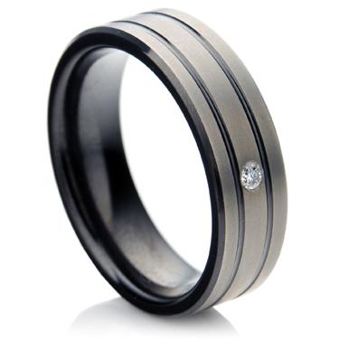 Zirconium Wedding Ring with Diamond