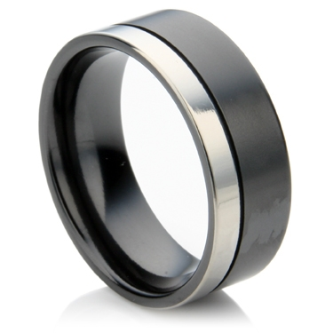 Black Zirconium Ring with off set Groove Two Tone