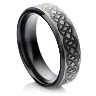 Celtic Design Black Zirconium Wedding Ring.