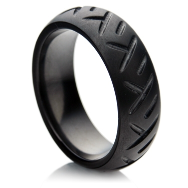 Zirconium Wedding Ring with Tyre Track Design