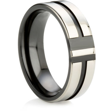 Black Zirconium Ring with a Central Channel