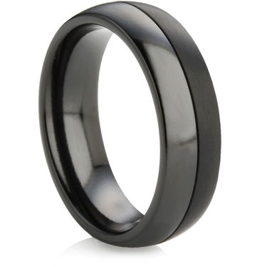 Black Zirconium Ring with Two Finishes