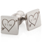 Cuff Links with Tree Drawn Heart and Arrow with Initials Thumbnail 1