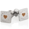 Laser Engraved Heart and Roman Numeral Cuff Links Thumbnail 1