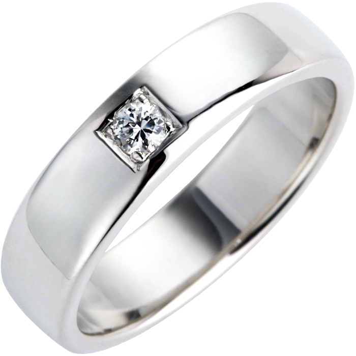 Brilliant Cut Diamond Set Double Comfort Wedding Ring Thumbnail 2