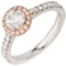 Halo Engagement Ring with Pink Brilliant Cut Diamonds Thumbnail 3