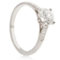 Brilliant Cut Solitaire Engagement Ring with Diamond Set Shoulders Thumbnail 2