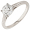Brilliant Cut Solitaire Engagement Ring with Diamond Set Shoulders Thumbnail 3