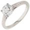 Brilliant Cut Solitaire Engagement Ring with Diamond Set Shoulders Thumbnail 3