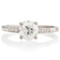 Brilliant Cut Solitaire Engagement Ring with Diamond Set Shoulders Thumbnail 4