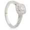Cushion Cut Solitaire Engagement Ring with Diamond Set Shoulders Thumbnail 2