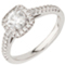 Cushion Cut Solitaire Engagement Ring with Diamond Set Shoulders Thumbnail 3