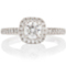 Cushion Cut Solitaire Engagement Ring with Diamond Set Shoulders Thumbnail 4