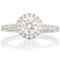 Halo Engagement Ring with Diamond Set Shoulders Thumbnail 4