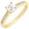 Yellow Gold Brilliant Cut Solitaire Engagement Ring with Diamond Shoulders Thumbnail 3