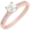 Rose Gold Brilliant Cut Solitaire Engagement Ring with Diamond Shoulders Thumbnail 3