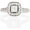 Cushion Cut Diamond Engagement Cluster Ring Thumbnail 4