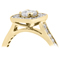 Yellow Gold Cushion Cut Diamond Engagement Cluster Ring Thumbnail 2