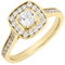 Yellow Gold Cushion Cut Diamond Engagement Cluster Ring Thumbnail 3
