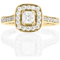 Yellow Gold Cushion Cut Diamond Engagement Cluster Ring Thumbnail 4
