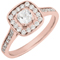 Rose Gold Cushion Cut Diamond Engagement Cluster Ring Thumbnail 3